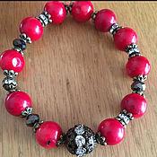 Украшения handmade. Livemaster - original item Bracelets and earrings made of coral and lava. Handmade.