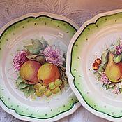 "Тарелка ""Яблоки,виноград и розы"""