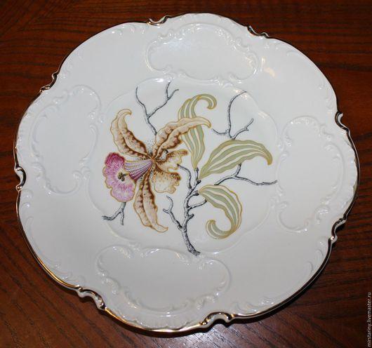 """Винтажная посуда. Ярмарка Мастеров - ручная работа. Купить Очаровательное, большое блюдо """"Орхидея"""", Hutschenreuther, Германия. Handmade. Бежевый, хутченройтер"""