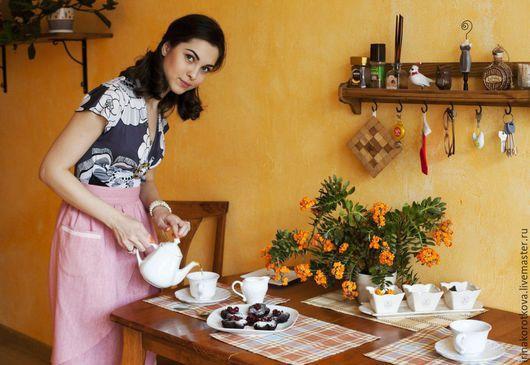 Кухня ручной работы. Ярмарка Мастеров - ручная работа. Купить Фартук кухонный женский. Handmade. Розовый, фартук ручной работы