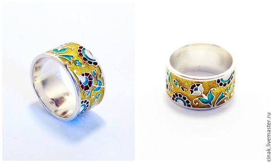 Кольца ручной работы. Ярмарка Мастеров - ручная работа. Купить Серебряное кольцо с эмалью - весенние цветы. Handmade. Комбинированный
