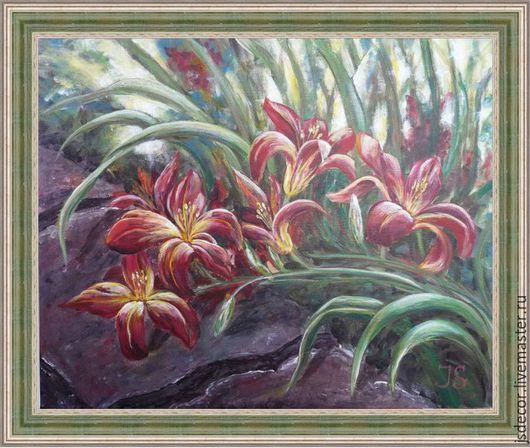"""Картины цветов ручной работы. Ярмарка Мастеров - ручная работа. Купить Картина """"Солнечный Лилейник"""". Handmade. Бордовый, зеленый, солнце"""