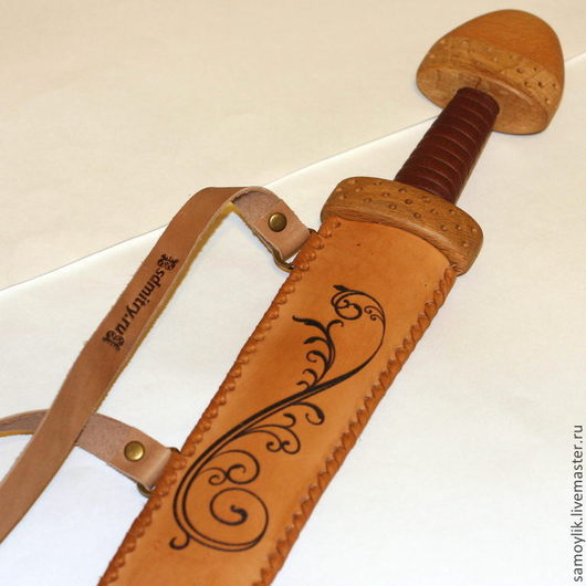 Развивающие игрушки ручной работы. Ярмарка Мастеров - ручная работа. Купить Меч детский деревянный тип H с узором. Handmade.