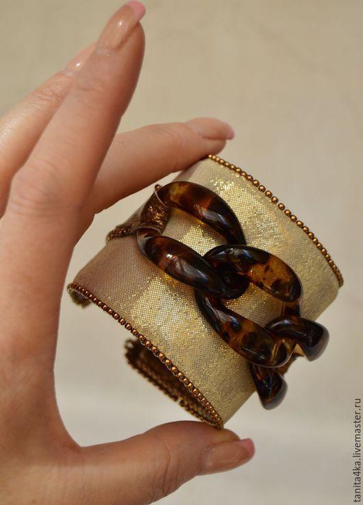 Браслет из кожи.Кожаный браслет.Золотой браслет. Широкий браслет.Авторский браслет. Tanit.Украшения и картины.Ярмарка мастеров.