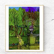 Картины и панно handmade. Livemaster - original item Print Staircase with Lions Landscape Painting for Home. Handmade.