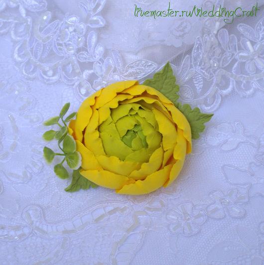 """Броши ручной работы. Ярмарка Мастеров - ручная работа. Купить Брошь """"Желтый ранункулюс"""". Handmade. Желтый, лютик, брошка, цветы"""