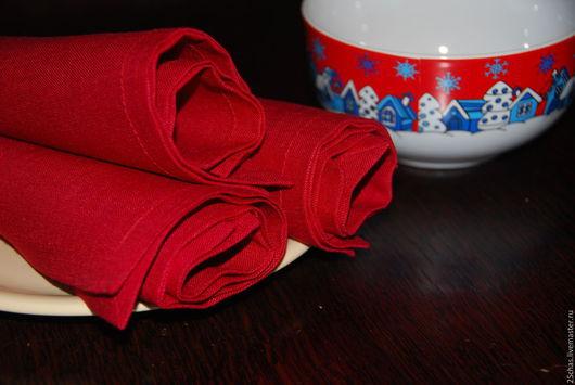 """Текстиль, ковры ручной работы. Ярмарка Мастеров - ручная работа. Купить Салфетки льняные  """"Брусничные"""" (6шт). Handmade. Ярко-красный"""