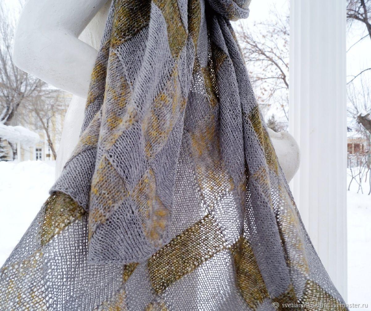 Комплект шарф энтрелак тонкий длинный шапка тонкая темно-зеленый серый, Шарфы, Оренбург,  Фото №1