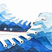 """Обувь ручной работы. Ярмарка Мастеров - ручная работа """"Mountains Blue"""", кеды Конверс Converse с росписью.. Handmade."""