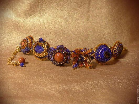 """Браслеты ручной работы. Ярмарка Мастеров - ручная работа. Купить браслет """"Жаркий вечер"""" вышитый бисером и камнями. Handmade. авантюрин"""