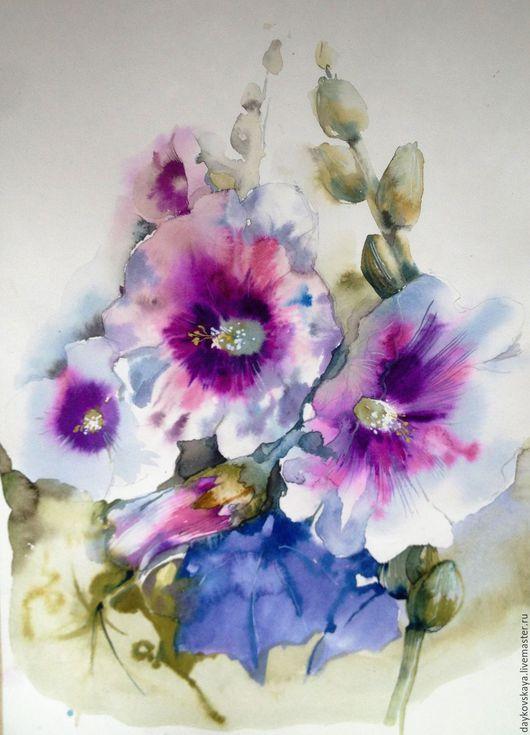 """Картины цветов ручной работы. Ярмарка Мастеров - ручная работа. Купить """"Мальвы"""" акварель. Handmade. Мальвы, цветы акварель, акварель"""