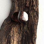 Украшения ручной работы. Ярмарка Мастеров - ручная работа ФАРФОР кольцо медное с кахолонгом, купить белое кольцо. Handmade.
