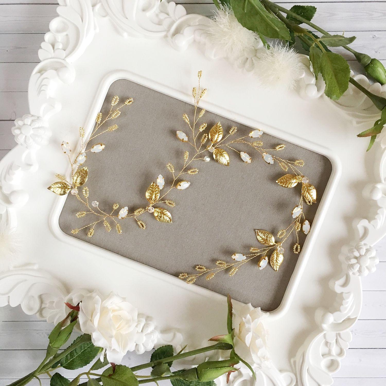 Свадебные украшения ручной работы. Ярмарка Мастеров - ручная работа. Купить Веточка свадебная Натали в золотом цвете. Handmade. Свадьба