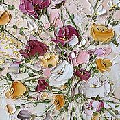 Картины и панно handmade. Livemaster - original item Painting bouquet of bright roses oil buy pink flowers field. Handmade.