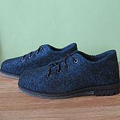 Обувь ручной работы. Ярмарка Мастеров - ручная работа Войлочные ботинки Schwarz und hellblau melange. Handmade.
