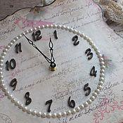 Для дома и интерьера ручной работы. Ярмарка Мастеров - ручная работа часы жемчуг розовая нежность акварель. Handmade.