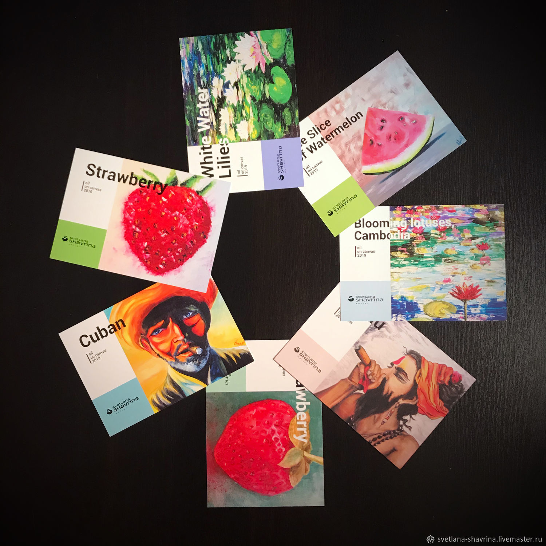 Набор из 7 авторских открыток с принтом работ м/х, поп арт, Открытки, Москва,  Фото №1