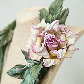 Украшения handmade. Livemaster - original item Necklace-brooch made of leather rose. The author`s the decoration of leather. Handmade.