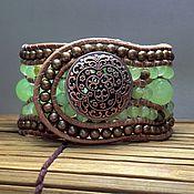Украшения handmade. Livemaster - original item Stone beaded bracelet. 5 row leather cuff bracelet. Onyx bracelet. Handmade.