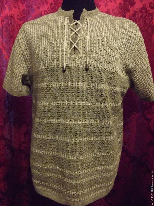 Для мужчин, ручной работы. Ярмарка Мастеров - ручная работа. Купить 100% лён Мужская футболка -поло УЮТ. Handmade.