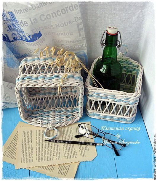 корзины, плетеные корзины, короб для хранения, органайзер, подвесная корзина, ажурная корзиночка, корзина плетение из бумажной лозы, бело-голубой меланж