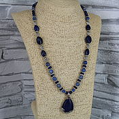 Украшения handmade. Livemaster - original item Necklace with a pendant made of natural stones ( lapis lazuli, agate). Handmade.