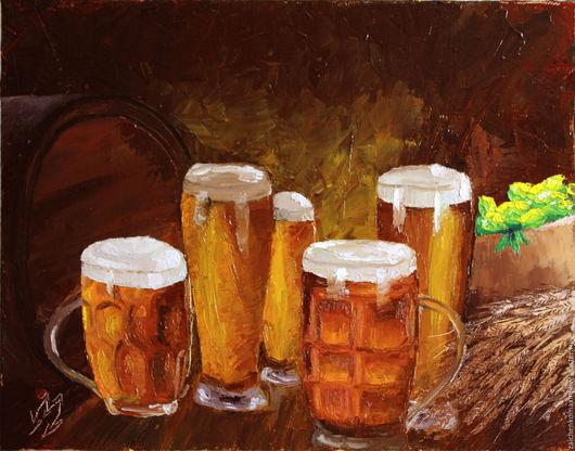 """Натюрморт ручной работы. Ярмарка Мастеров - ручная работа. Купить """"Пиваси"""". Handmade. Коричневый, хмель, напитки, кисть"""