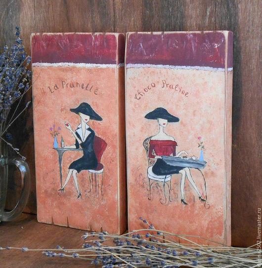 Декоративные панно для интерьера во французском стиле. Рисунок на дереве акриловыми красками. `Французский шарм`.