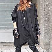 Одежда handmade. Livemaster - original item Black, stylish long sleeve tunic blouse - TU0558PM. Handmade.