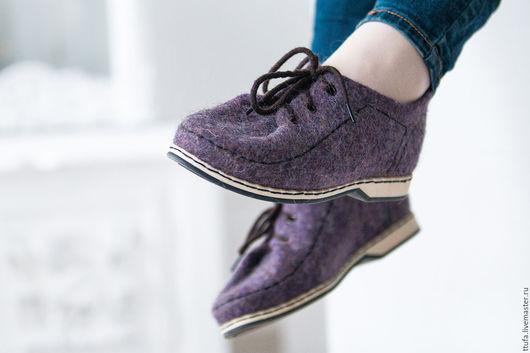"""Обувь ручной работы. Ярмарка Мастеров - ручная работа. Купить Туфли валяные """"Вечер"""". Handmade. Туфли, сиреневый"""