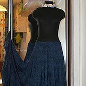 Одежда ручной работы. Ярмарка Мастеров - ручная работа Ярусная юбка из штапеля (лазурные и лиловые пейсли). Handmade.