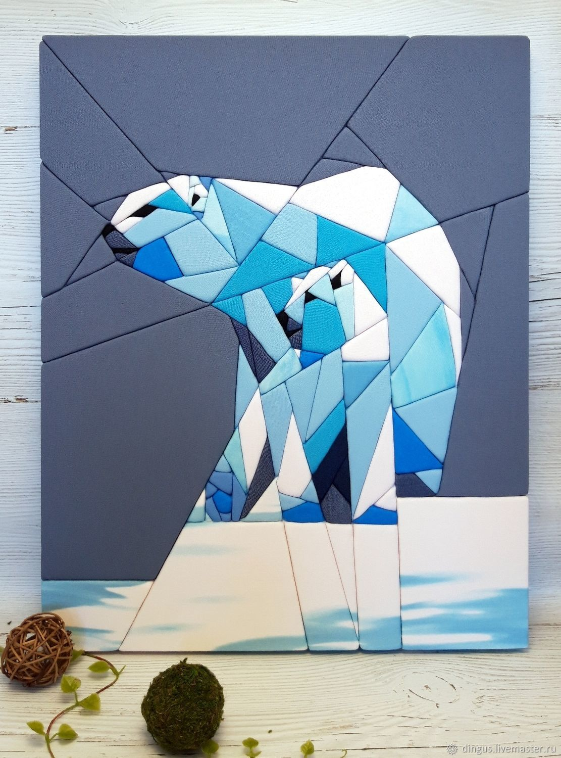 Polar bears, picture-panels of fabric in the technique kinosage, Panels, Moscow,  Фото №1