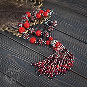 """Украшения ручной работы. Ярмарка Мастеров - ручная работа Комплект  """"Красное и черное"""". Handmade."""