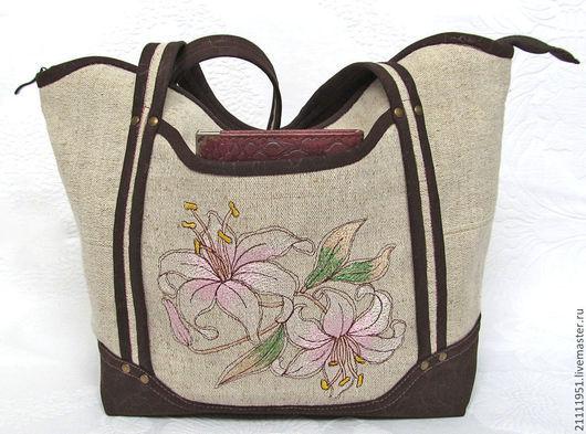 Женские сумки ручной работы. Ярмарка Мастеров - ручная работа. Купить Текстильная сумка с вышивкой розовые лилии. Handmade. Сумка