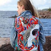 Одежда handmade. Livemaster - original item Denim jacket with hand-embroidered