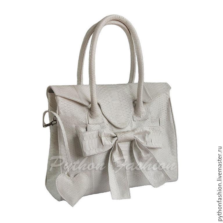 Bag leather Python. Designer bag made of Python skin. Beautiful pimonova bag with bow. Stylish bag made from Python leather with long handles. Women's bag made of Python decor. White bag made of Pytho
