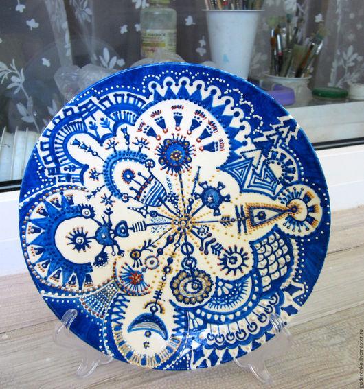 """Тарелки ручной работы. Ярмарка Мастеров - ручная работа. Купить Авторская тарелка """"Снежинка"""". Handmade. Синий, тарелка ручной работы"""