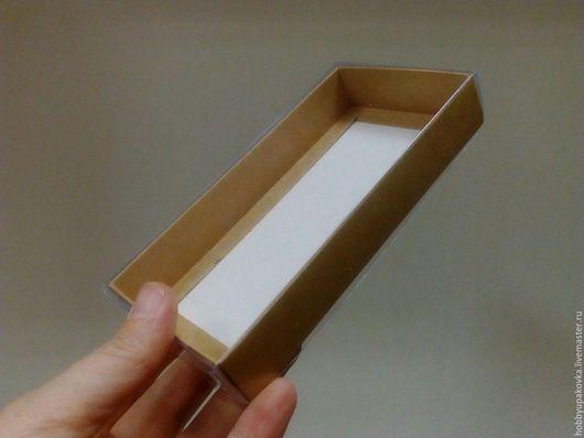 Упаковка ручной работы. Ярмарка Мастеров - ручная работа. Купить Коробка 15,5х7,5 х2,5 см крафт с прозрачной крышкой. Handmade.