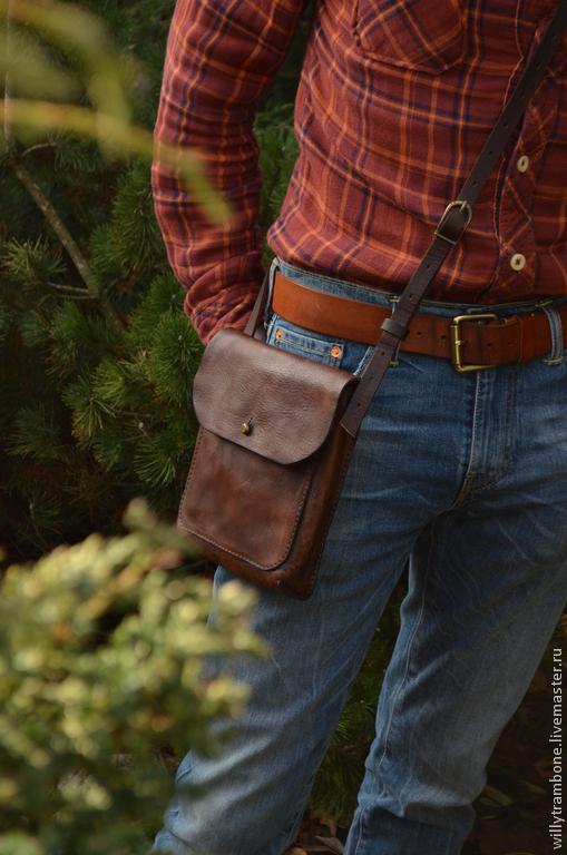 Мужские сумки ручной работы. Ярмарка Мастеров - ручная работа. Купить Пьяная-помятая. Handmade. Коричневый, кожаные сумки