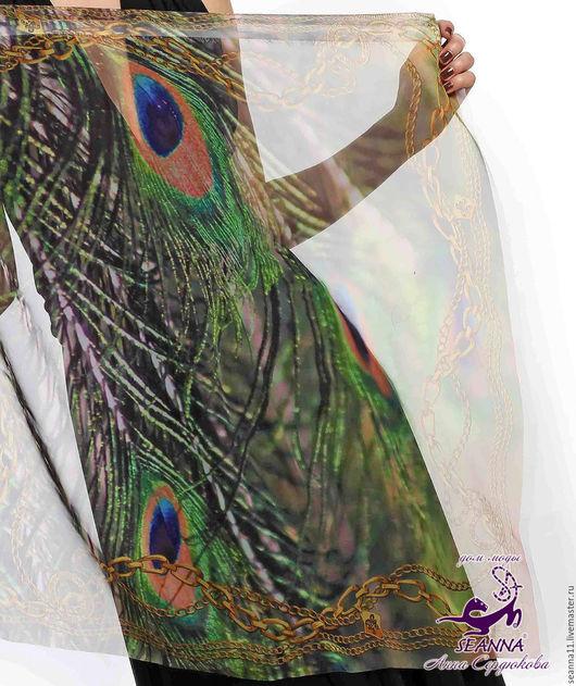 Дизайнер Анна Сердюкова (Дом Моды SEANNA).  Роскошный шифоновый дизайнерский платок с авторским принтом от Дома Моды SEANNA `Синие драгоценности`. Размер платка - 65х65 см. Цена - 2400 руб.