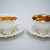 "Посуда handmade. Livemaster - original item Tea pair of porcelain ""Hunting"". Handmade."