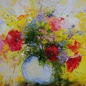 Картины и панно ручной работы. Ярмарка Мастеров - ручная работа Цветы мастихином маслом на холсте. Handmade.