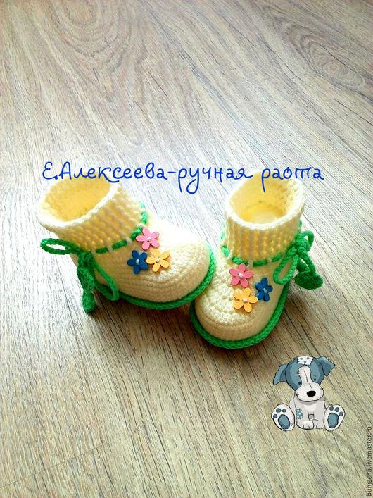 Для новорожденных, ручной работы. Ярмарка Мастеров - ручная работа. Купить Пинетки вязанные крючком с цветочками. Handmade. Пинетки