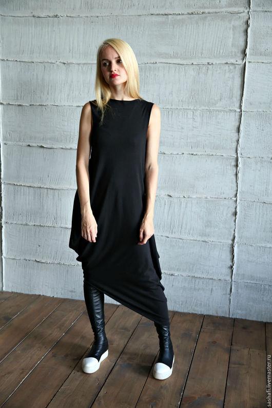Платья ручной работы. Ярмарка Мастеров - ручная работа. Купить Платье ASYMMETRIC NEW BLACK. Handmade. Платье, трикотажное платье
