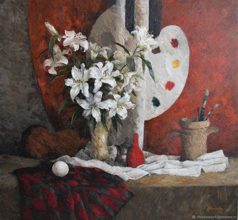 Лилии в мастерской. Масло, холст, 110х120 см, Картины, Москва,  Фото №1