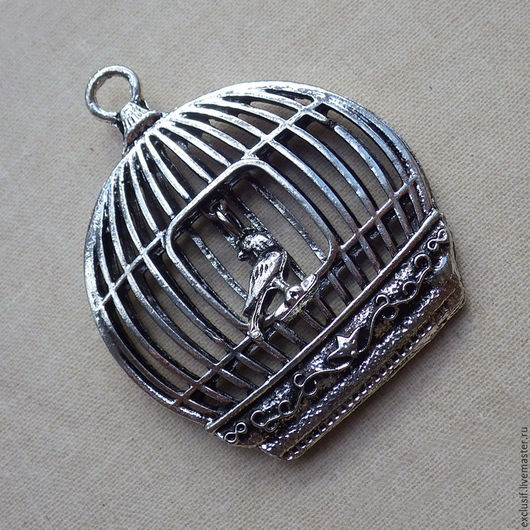 Клетка с птичкой. Фурнитура для украшений - подвеска в виде объемной клетки с птицей. Купить подвеску клетка с птичкой. Купить кулон клетка с птицей