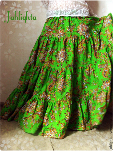 """Юбки ручной работы. Ярмарка Мастеров - ручная работа. Купить Юбка """"Луговая"""". Handmade. Ярко-зелёный, юбка в пол"""