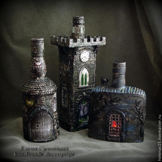 """Освещение ручной работы. Ярмарка Мастеров - ручная работа. Купить Бутылка-светильник """"Замок Дракулы"""" Декупаж. Handmade. Черный, готика"""