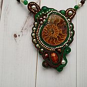 Украшения handmade. Livemaster - original item Soutache jewelry set with Ammonite. Handmade.