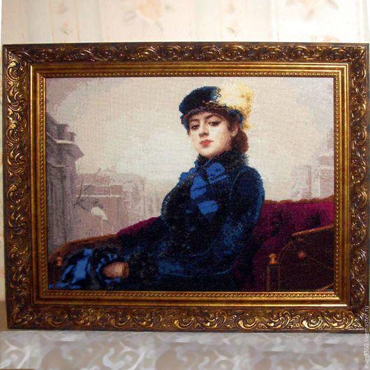 """Репродукции ручной работы. Ярмарка Мастеров - ручная работа. Купить картина """"Портрет неизвестной"""". Handmade. Вышивка, Вышивка крестом, портрет"""